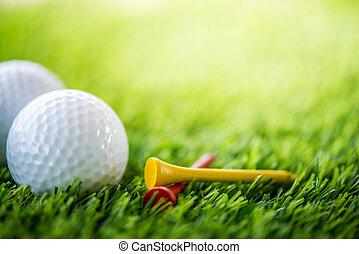 golf bold og tee, på, fairway