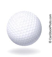 golf., boule blanche, isolé, arrière-plan.