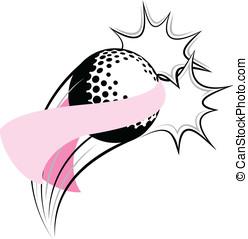 Golf Breast Cancer Pow - Vector illustration of a golf...