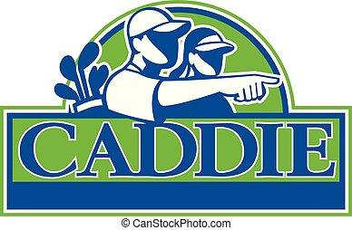 golf-caddy-golfer-CIRC-banner-TXT - Retro style illustration...