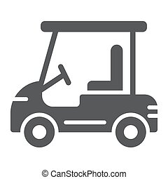 Golf car glyph icon, automobile and sport, cart sign, vector graphics, a solid pattern on a white background.