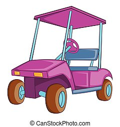 Golf car icon, cartoon style