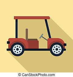 Golf car icon, flat style
