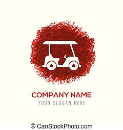Golf Car Icon - Red Water Color Circle Splash