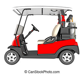 Golf car side view isolated on white. 3D rendering