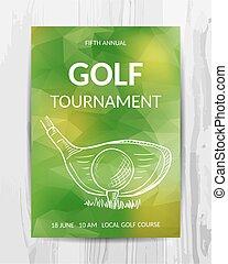 golf, card., flyer., tournoi, invitation, fête, sport