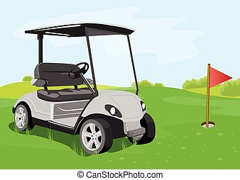 golf cart and flag on a golf course - illustration of a golf...
