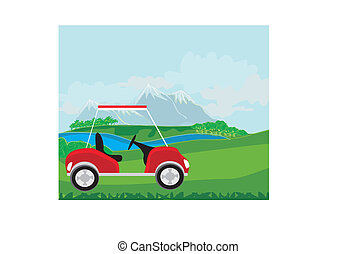 Golf cart at the beautiful golf course