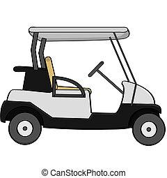 Cartoon illustration of an empty golf cart