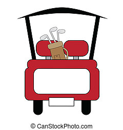 Golf Cart - Cute little red sporty golf cart