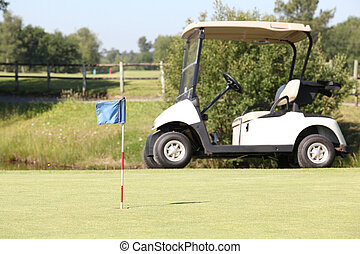 Golf cart on the green