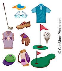 golf, cartone animato, icona