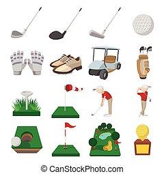 Golf cartoon icons set