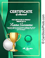 Golf Certificate Diploma With Golden Cup Vector. Sport Award Template. Achievement Design. Honor Background. A4 Vertical. Illustration