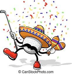 A golf ball celebrating cinco de mayo by dancing with maracas a sombrero, and confetti.