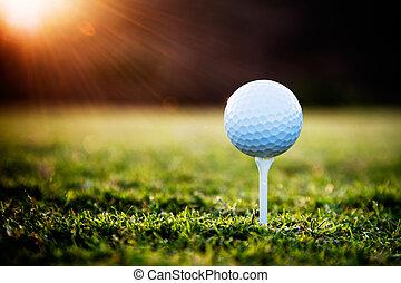 Golf - Close up of golf ball on tee