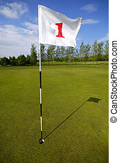 Golf - Closeup of golf flag number one on a golf course