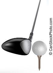 Golf club - 3d golf club & ball on white background