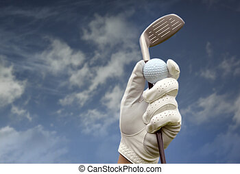 Golf club against a blue sky