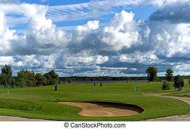 Golf club ashore lake in Riga