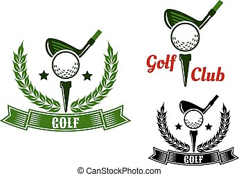 Golf club emblems with first stroke from tee - Golf club...