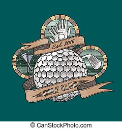 Golf club, golf course vector logo. Golf illustration in...