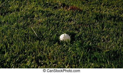 Golf club hitting ball on the course in slow motion