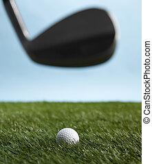Golf Club Hitting Ball