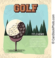 golf club label with ball