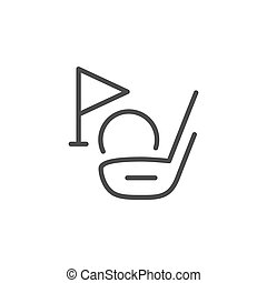 Golf club line outline icon