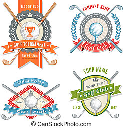 4 Colorful Logos and Placards for Golf Club Organizations or Tournament Events. Vector file is organized with layers for ease of editing.