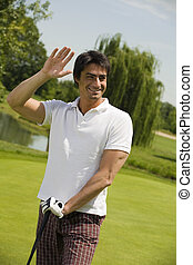 Golf club: the golfer just won the competition