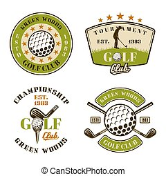 Golf club set of vector emblems, badges, labels