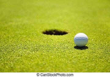 Golf club: ball close to the 18th hole