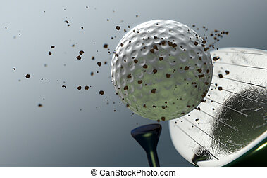 Golf Club Striking Ball In Slow Motion - An extreme closeup...