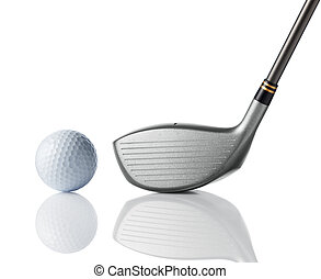 golf club with golf ball - driver and golf ball on white...