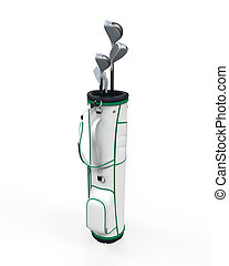 Golf Clubs and Bag Isolated on white background. 3D render