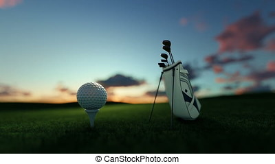 Golf clubs and golf ball on tee against beautiful timelapse...