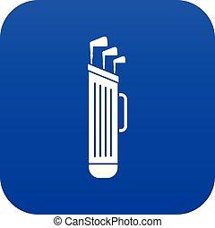 Golf clubs bag icon digital blue