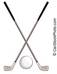 Golf clubs crossed with golf ball