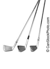 Golf clubs isolated over a white background with a clipping path