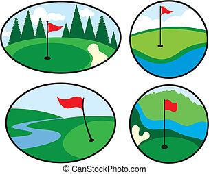 golf, coloré, icônes
