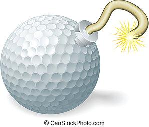 golf, concept, bombe, balle