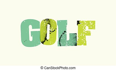 The word GOLF stamped in colorful paint and ink on a plain background. Vector EPS 10 available.