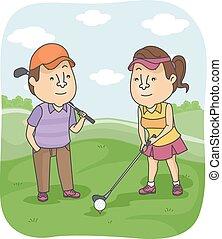 golf, couple, fermé, tee