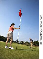golf., couple, jouer
