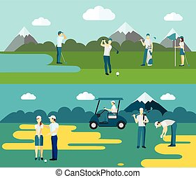 Popular outdoor ball and club sport 2 flat banners with golf course players abstract isolated vector illustration