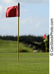 Golf Course - A red golf flag on a green golf course.