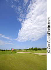 Golf course and flag