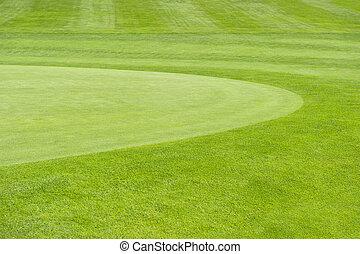 golf, course., arrière-plan vert, champ